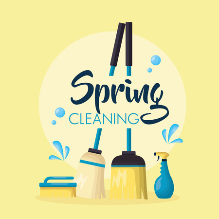 broom and mop brush spring cleaning tools vector illustration