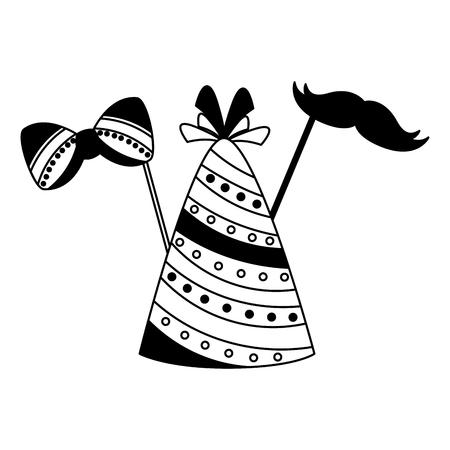 carnival hat party bowtie mustache vector illustration