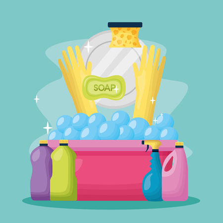 dish soap sponge bucket detergent spring cleaning tools vector illustration Foto de archivo - 122807450