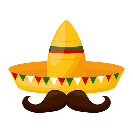 hat mustache mexico cinco de mayo sticker vector illustration 스톡 콘텐츠 - 122807452