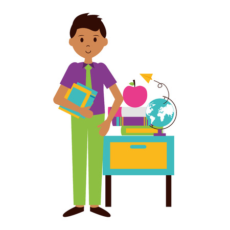 man with school globe book desk apple teachers day card vector illustration