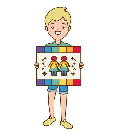 guy with board pride vector illustration