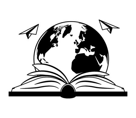 open book planet paper plane - world book day vector illustration Foto de archivo - 121795961