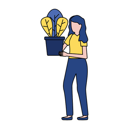 woman holding potted plant decoration vector illustration Illustration