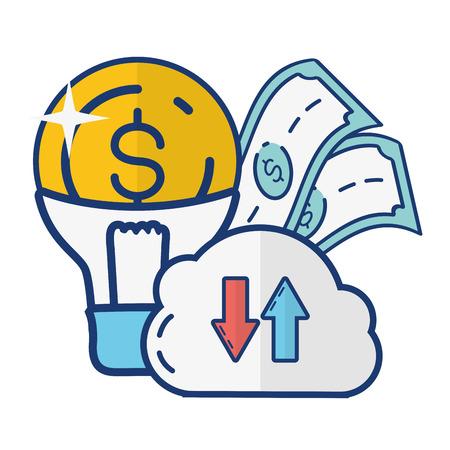 cloud computing bulb money online payment vector illustration  イラスト・ベクター素材