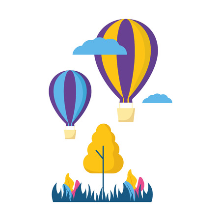 hot air balloons travel tree meadow plant vector illustration Stock Illustratie