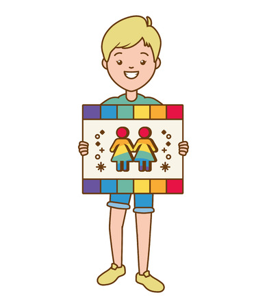 guy with board  lgbt pride vector illustration