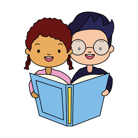boy and girl with textbook kids world book day vector illustration