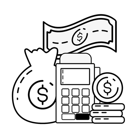 money bag pay terminal online banking vector illustration  イラスト・ベクター素材