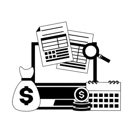 money bag laptop calendar papers tax payment vector illustration Illustration
