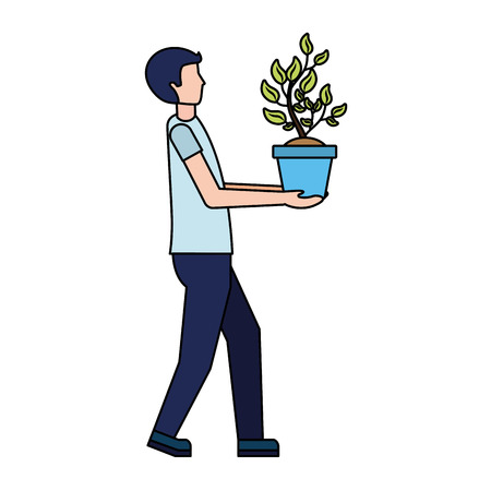man holding plant in pot vector illustration