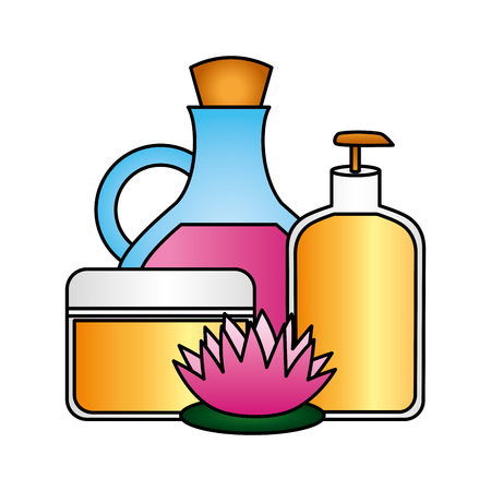oil bottle gel cream flower spa therapy vector illustration Foto de archivo - 122807541