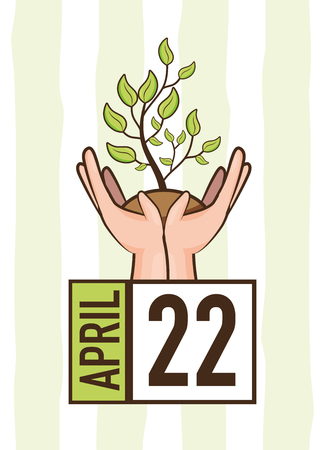 hands with plant calendar earth day card vector illustration Banque d'images - 122807543