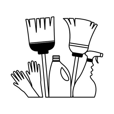 broom mop gloves spray detergent spring cleaning tools vector illustration