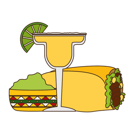 Mexican burrito tequila guacamole food vector illustration Illustration