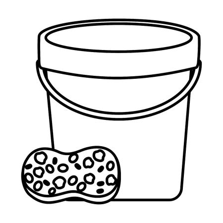 bucket sponge tool cleaning on white background vector illustration