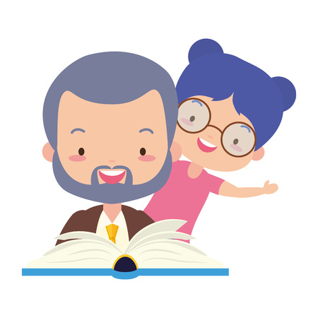 father daughter with reading book vector illustration design Stock Vector - 122807582