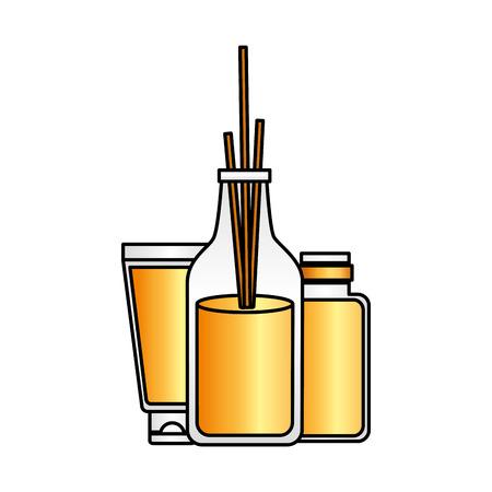 aromatherapy sticks tube lotion bottle spa treatment therapy vector illustration