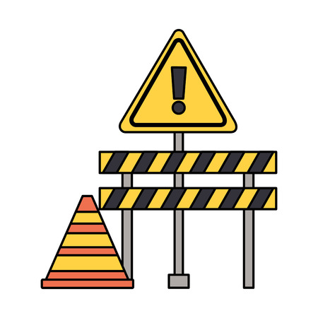 construction barricade warning sign cone vector illustration