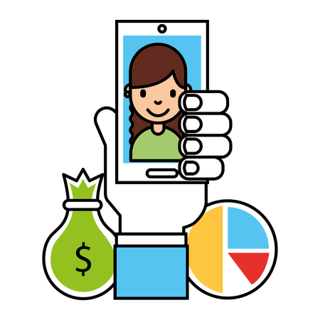 hand with mobile people money bag chart business vector illustration Illustration