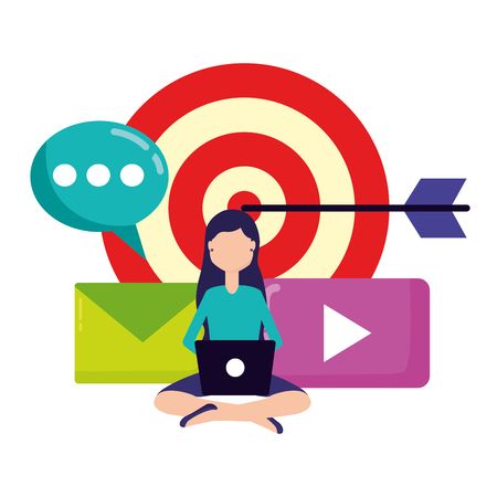woman with laptop target email chat social media vector illustration