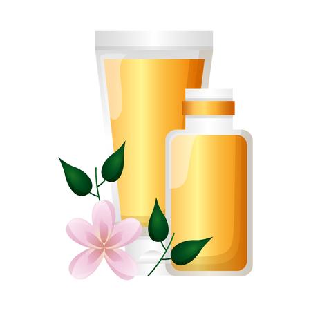 skin cream flowers spa treatment therapy vector illustration Ilustracja