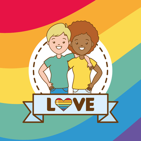 happy couple women lgbt pride vector illustration  イラスト・ベクター素材