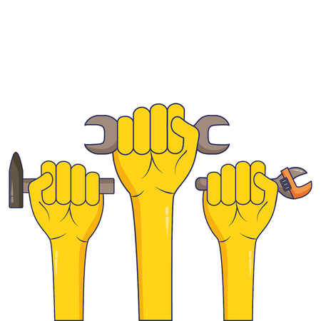 raised hands with tools labour day vector illustration  イラスト・ベクター素材
