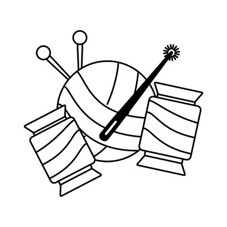 needlepoint wool balls on white background vector illustration Çizim
