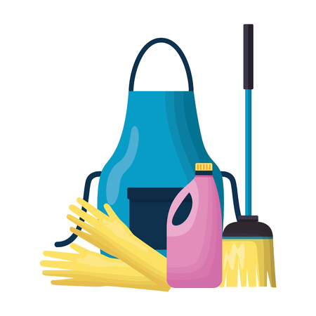 apron gloves broom liquid detergent spring cleaning tools vector illustration