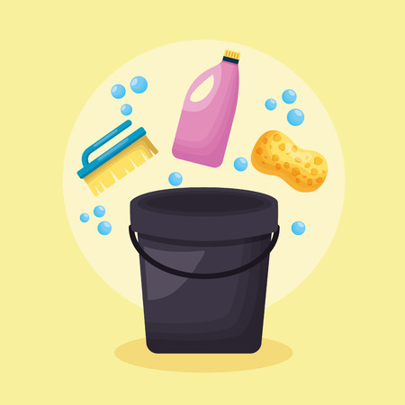 bucket sponge brush detergent spring cleaning tools vector illustration