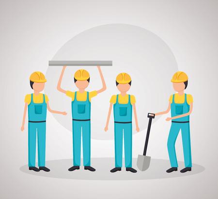 workers construction shovel blueprint equipment vector illustration