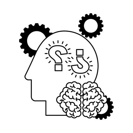 head gears question marks brain creativity idea vector illustration Banque d'images - 122808127