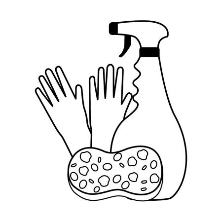 gloves sponge and plunger spring cleaning tools vector illustration Illustration