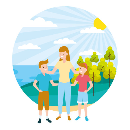 mom with son and daughter family outdoors vector illustration