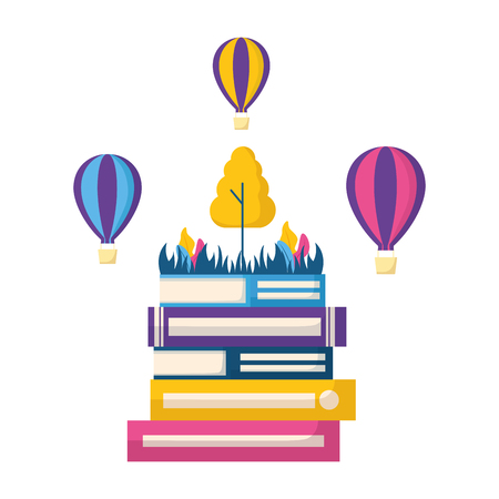 books hot air balloons tree world book day vector illustration Illustration