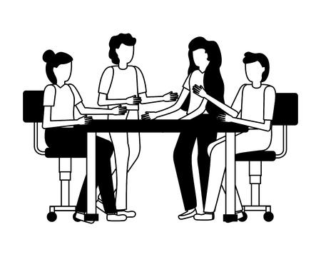 teamwerk mensen ontmoeten kantoor vector illustratie ontwerp