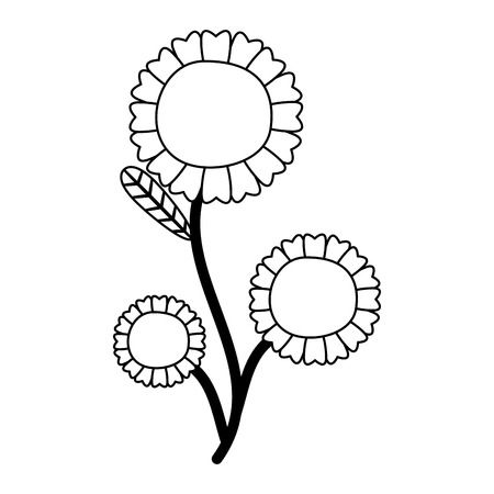 flower with stem and leaves white background vector illustration 일러스트