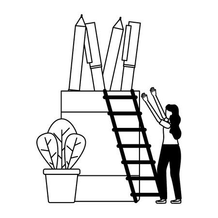 business woman pencils ladder vector illustration design Stock Vector - 122808197