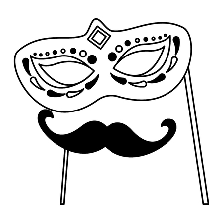 carnival mask and mustache vector illustration design