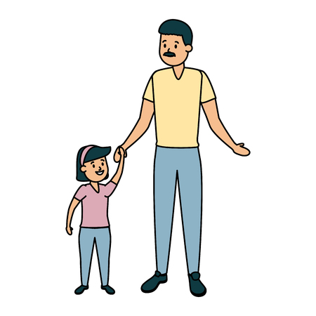 family father with daughter vector illustration design