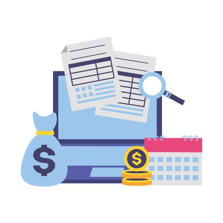 money bag laptop calendar forms tax payment vector illustration