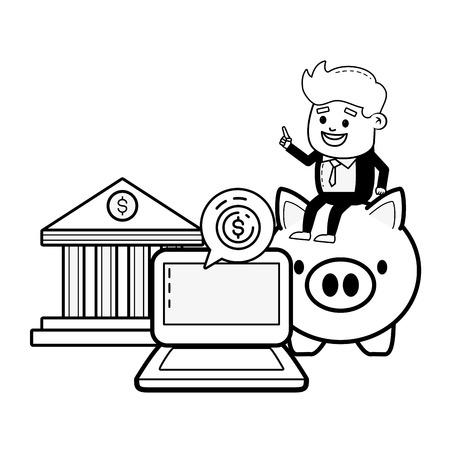 businessman laptop piggy and bank money online payment vector illustration Standard-Bild - 122808217