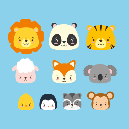 cute animals cartoon characters set vector illustration design