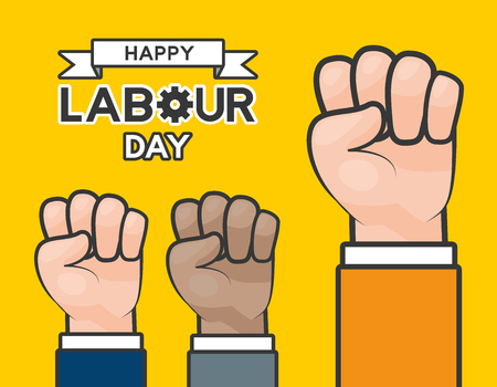 raised hands happy labour day vector illustration Çizim