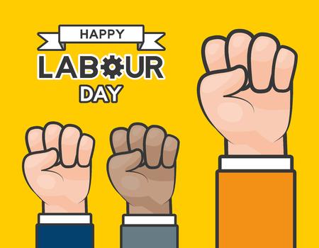 raised hands happy labour day vector illustration Illustration