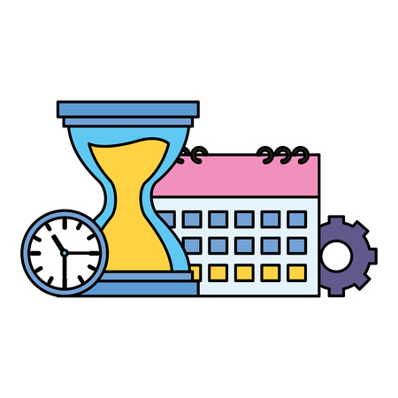 hourglass clock calendar gear work vector illustration Illustration
