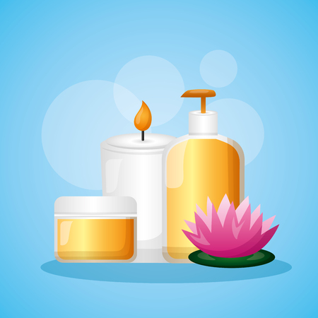 produits pour la peau soins bougie traitement spa thérapie illustration vectorielle