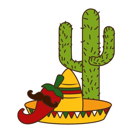 cactus hat jalapeno with mustache cinco de mayo vector illustration Archivio Fotografico - 121787993