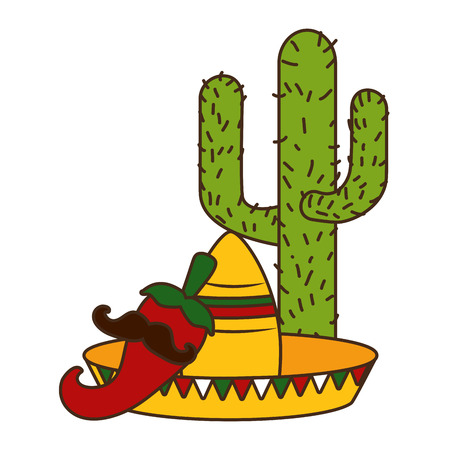 cactus hat jalapeno with mustache cinco de mayo vector illustration